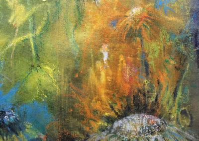 kunstreiche Blütenrausch und Blätterrascheln (2) 18x24cm Acryl, Kreide auf papier Detail 1