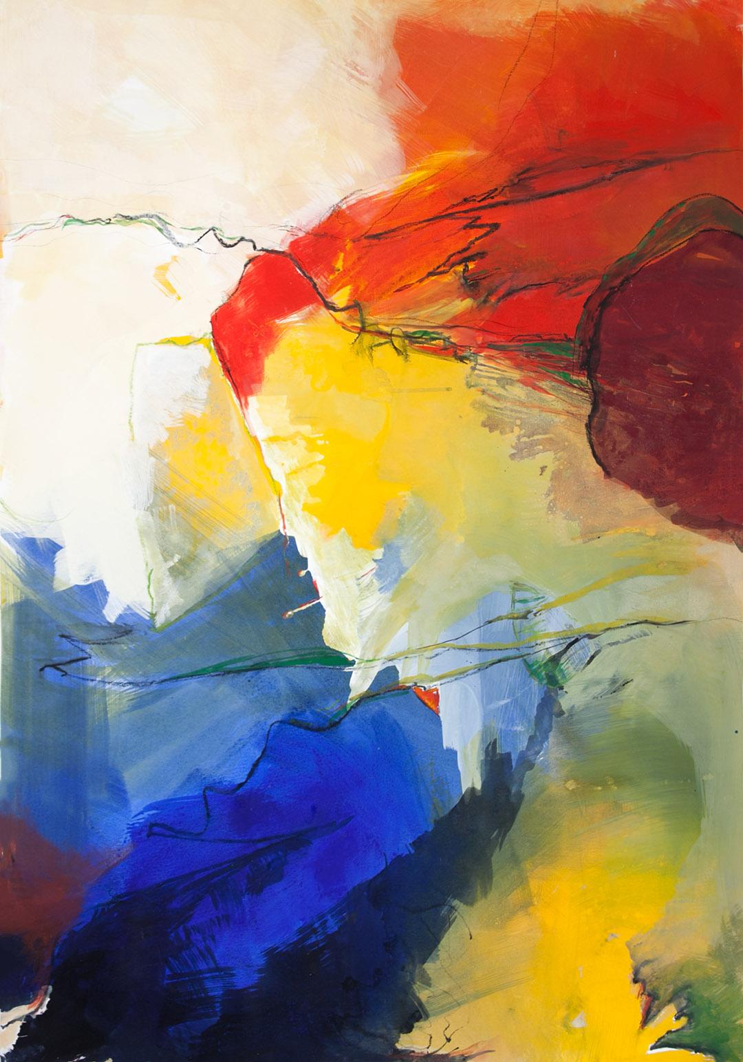 kunstreiche Farbenrausch (1) Acryl auf Papier 100x70 cm