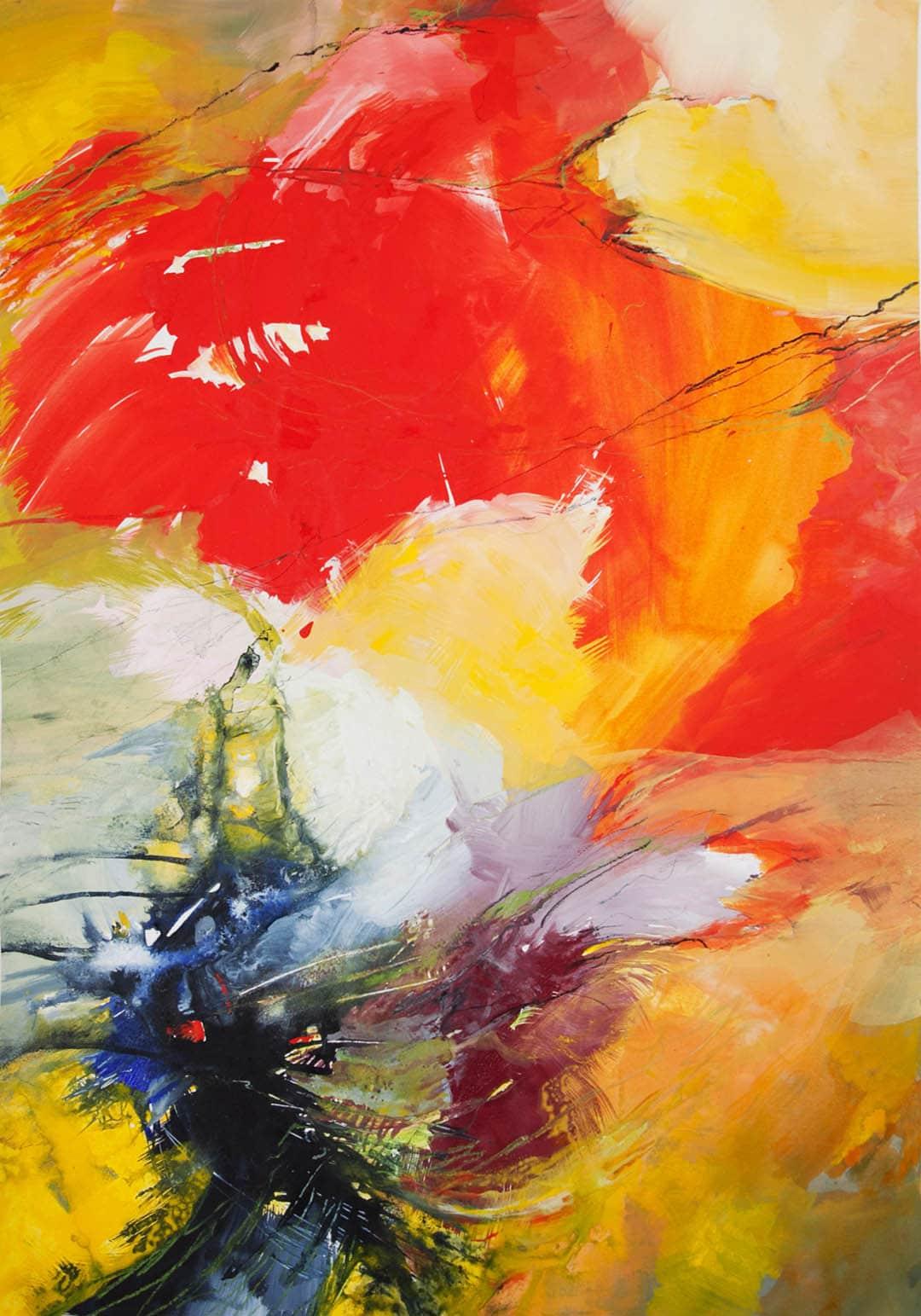 kunstreiche Farbenrausch (2) Acryl auf Papier 100x70 cm