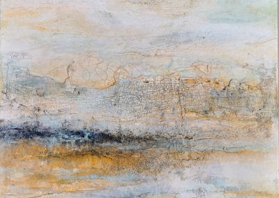 kunstreiche Landschaft, abstrakt (1) Marmormehl, Strukturmasse, Pigmente, Eitempera auf Leinwand