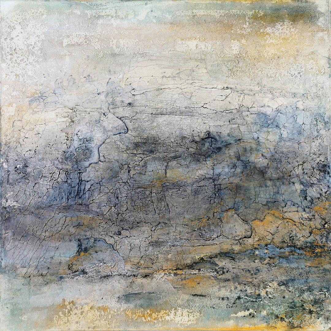 kunstreiche Landschaft, abstrakt (2) Marmormehl, Strukturmasse, Pigmente, Eitempera auf Leinwand