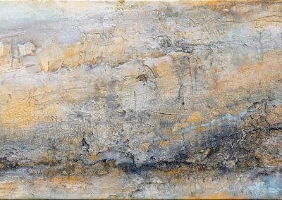 kunstreiche Landschaft, abstrakt Marmormehl, Strukturmasse, Pigmente, Eitempera auf Leinwand 40x80 cm
