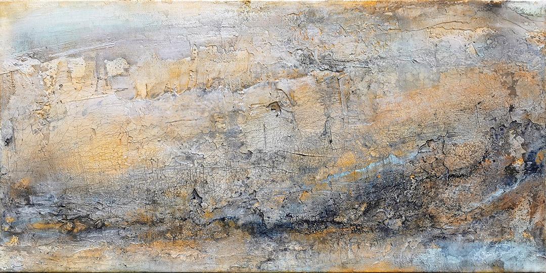 Landshcaft, abstrakt Marmormehl, Strukturmasse, Pigmente, Eitempera auf Leinwand 40x80 cm