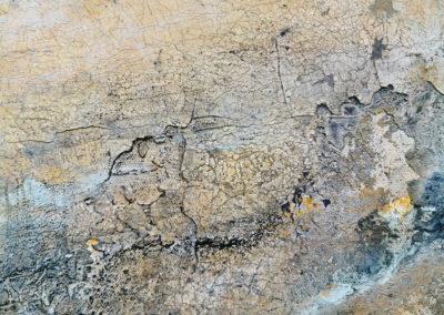 kunstreiche Landschaft, abstrakt Marmormehl, Strukturmasse, Pigmente, Eitempera auf Leinwand Detail 1