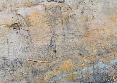 kunstreiche Landschaft, abstrakt Marmormehl, Strukturmasse, Pigmente, Eitempera auf Leinwand Detail 2