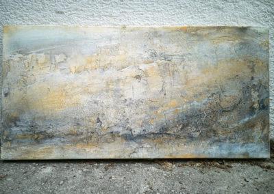 kunstreiche Landschaft, abstrakt Marmormehl, Strukturmasse, Pigmente, Eitempera auf Leinwand 40x80 cm stehend