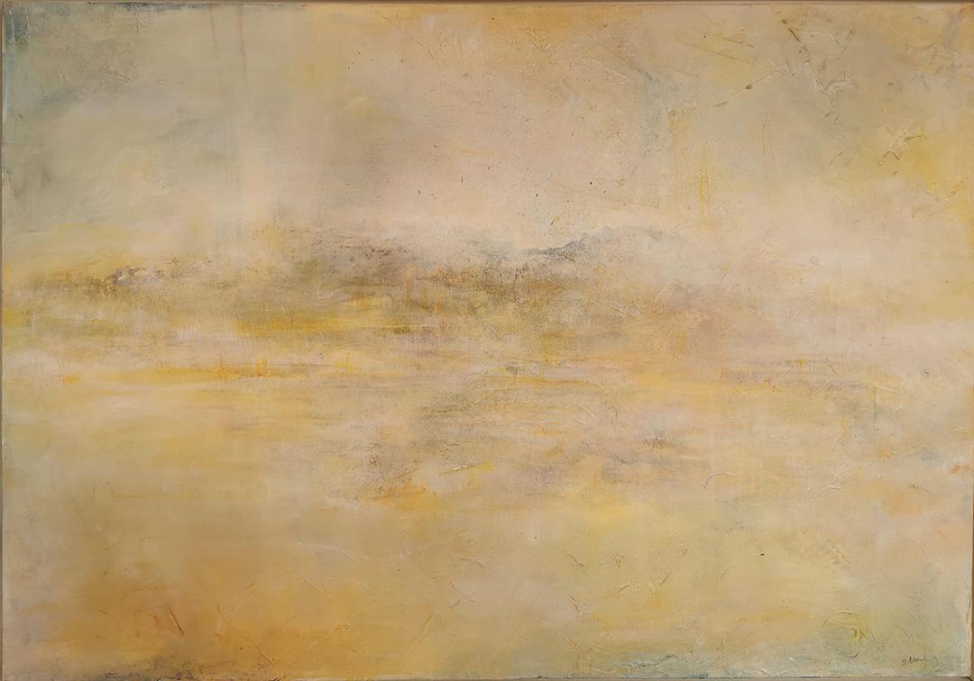 Die Stille der Welt erhorchen Pigmente, Acryl, Kreide auf Leinwand