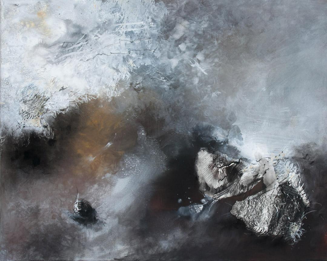 kunstreiche Gewaltig (1) Acryl , Kreide, Sand, Papier auf Leinwand 80x100 cm