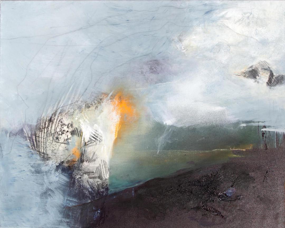 kunstreiche Gewaltig (3) Acryl , Kreide, Sand, Papier auf Leinwand 80x100 cm