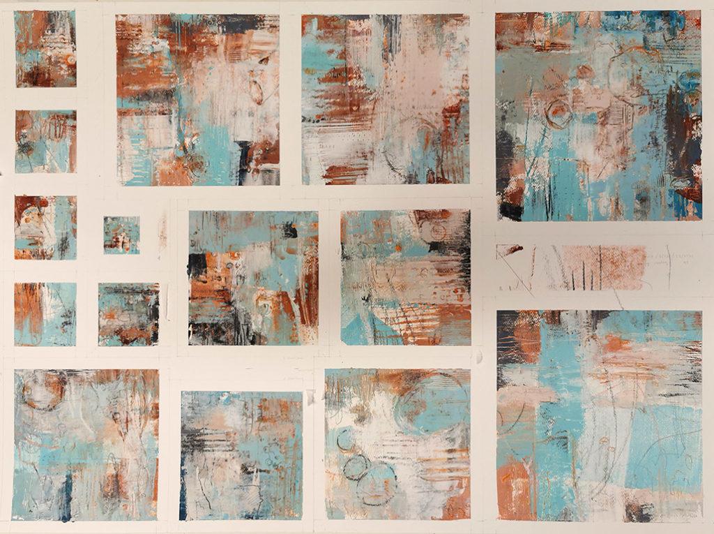 Eine Serie von Arbeiten mit Kaltwachs und Öl auf einem Blatt Papier; Blue Series von Dagmar Reiche