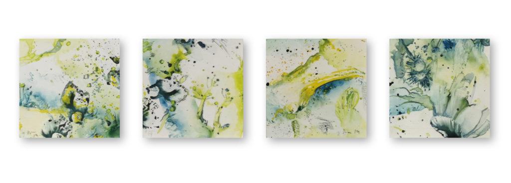 Eine Serie von Arbeiten mit Aquarellfarbe auf Papier in sehr kleinem Format; Serie Träume von Dagmar Reiche