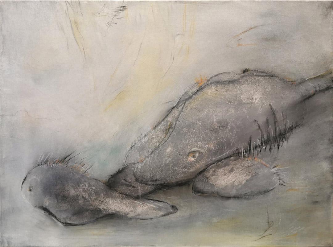 kunstreiche Wer sich wundert (1) 60x80 cm Acryl, Kreide auf Leinwand